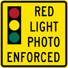Image of a Red Light Photo Enforced Sign (W16-10-1)