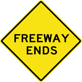 Image of a Freeway Ends Sign (W19-3)