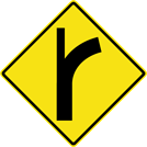 Image of a Curve — Side Road Left Sign (W2-3-1L)