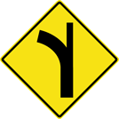 Curve — Side Road Right Sign (W2-3-1R)