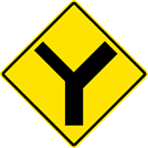 "Image of a ""Y"" Symbol Secondary Left Sign (W2-5-1L)"