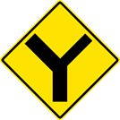 "Image of a ""Y"" Symbol Secondary Right Sign (W2-5-1R)"