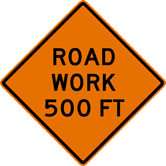 Image of a Road Work Sign (W20-1)