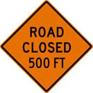 Image of a Road Closed Sign (W20-3)