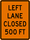 Image of a Rectangular Left Lane Closed Sign (W20-5-3)