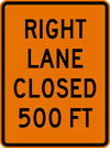Rectangular Right Lane Closed Sign (W20-5-4)