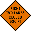 Right Two Lanes Closed Sign (W20-5AR)