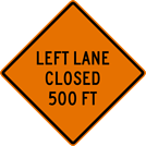 Image of a Left Lane Closed Sign (W20-5L)
