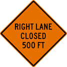 Image of a Right Lane Closed Sign (W20-5R)