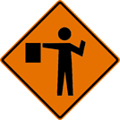 Image of a Flagger Symbol Sign (W20-7)