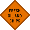 Image of a Fresh Oil and Chips Sign (W21-5-1)