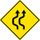 Image of a Two-Lane Double Reverse Curve Sign (W24-1AL)