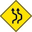 Two-Lane Double Reverse Curve Sign (W24-1AR)