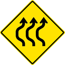 Image of a Three-Lane Double Reverse Curve Sign (W24-1BL)