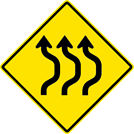 Image of a Three-Lane Double Reverse Curve Sign (W24-1BR)