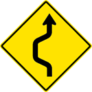 Image of a Single Lane Double Reverse Curve Sign (W24-1L)