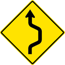 Image of a Single Lane Double Reverse Curve Sign (W24-1R)