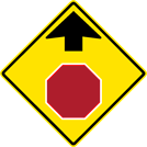 Image of a Stop Ahead Sign (W3-1)