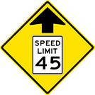 Image of a Speed Reduction Sign (W3-5)