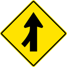 Image of a Merge Left Sign (W4-1L)