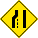 Image of a Pavement Width Transition — Left Lane Ends Sign (W4-2L)