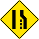 Pavement Width Transition — Right Lane Ends Sign (W4-2R)