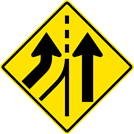 Image of a Left Lane Added Sign (W4-3L)