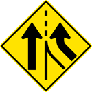 Image of a Right Lane Added Sign (W4-3R)