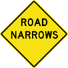 Image of a Road Narrows Sign (W5-1)