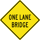 Image of a One Lane Bridge Sign (W5-3)