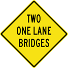 Image of a Two One Lane Bridges Sign (W5-3B)