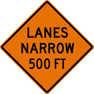 Image of a Lanes Narrow Sign (W5-4-1)