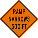 Image of a Ramp Narrows Sign (W5-4)