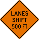 Image of a Lanes Shift Sign (W5-5)