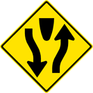 Image of a Divided Highway — Divided Highway Ends Sign (W6-1)