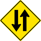 Image of a Two-Way Traffic Sign (W6-3)