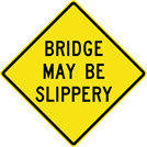 Image of a Bridge May Be Slippery Sign (W8-13B)