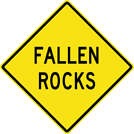 Image of a Fallen Rocks Sign (W8-14)