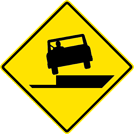 Image of a Shoulder Drop Off Left Sign (W8-17L)