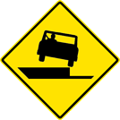 Image of a Shoulder Drop Off Right Sign (W8-17R)