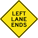 Image of a Left Lane Ends Sign (W9-1L)