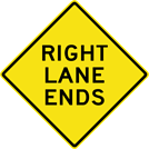 Image of a Right Lanes Ends Sign (W9-1R)