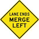 Image of a Lane Ends Merge Left Sign (W9-2L)