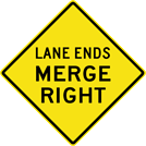 Lane Ends Merge Right Sign (W9-2R)
