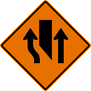 Center Lane Must Shift Left Sign (W9-3A)